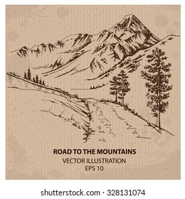 Road to the mountains. Hand drawn vector illustration