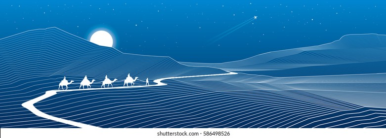 Road in the mountains, winding highway, rock landscape, white lines on blue background, caravan passes, vector design art