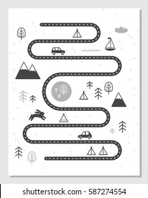 Road, Mountains and Woods Adventure Map. Scandinavian Style Art Nursery Monochrome Print