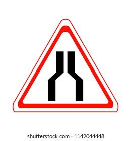 Road narrows signs. Vector Illustration.