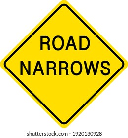 Road Narrows yellow sign on white background illustration