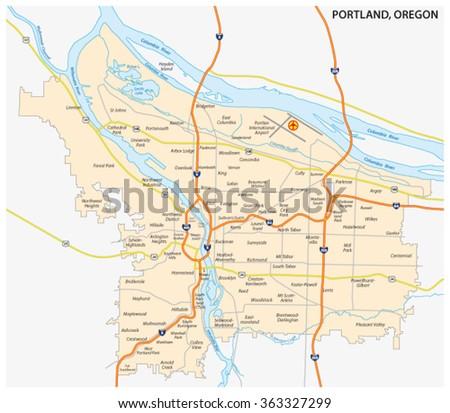 Road Neighborhood Map Portland Oregon Stock Vector (Royalty Free ...