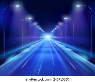 Road in the night. Vector Illustration.