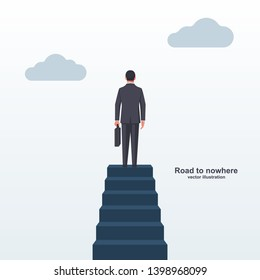 Road to nowhere landing page. A businessman is standing at the top of the stairs. Vector illustration flat design. Isolated on white background. The man at the top of the cliff.