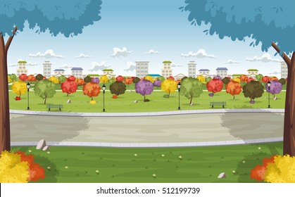 Road on colorful park in the city