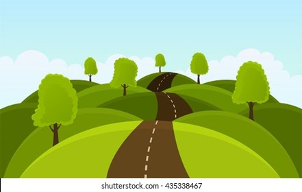 Road on hills among trees and meadows.