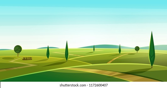 Road on the hills. Summer landscape. Rural valley view. Beautiful green fields with and meadow, mountains and blue sky Cartoon vodern illustration