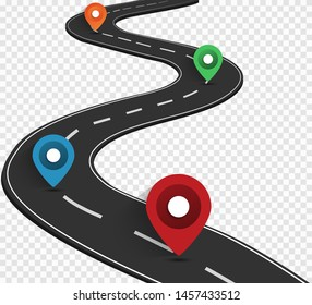 Road on a transparent background. Road way location infographic template with pointer. Vector illustrations EPS10