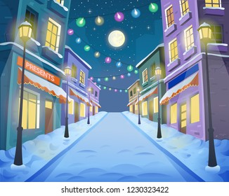Road over the street with lanterns and a garland. Vector illustration of winter city street in cartoon style.