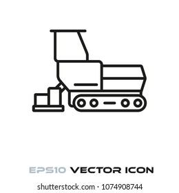 Road paver flat line icon vector