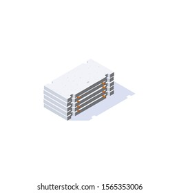 Road plate icon. Stack of concrete slabs in isometric view. Building materials for construction purposes. Vector illustration isolated on a white background.
