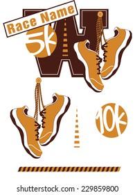 Road Race Logo Elements Including Sneakers - Vector Art