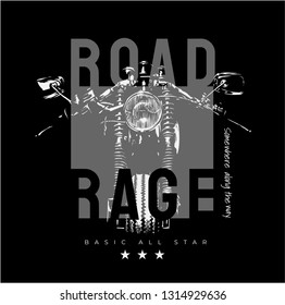 road rage slogan with motorcycle silhouette illustration
