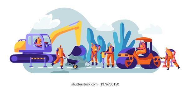Road Repair with Construction Machines and Working People. Excavator and Rolling Heavy Vehicles Making Asphalt Maintenance. Machinery and Warning Signs Construction. Cartoon Flat Vector Illustration