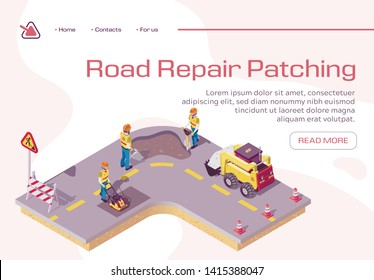 Road Repair, Excavator Cover Hole in Ground with Concrete, Worker Patching Fresh Asphalt, Bagger Excavating Work on Highway, Construction Machinery in Action. Bad Road Isometric 3d Vector Illustration