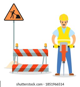 Road repair flat vector illustration. Male worker with jackhammer. Maintenance and construction of pavement concept. Special equipment for fencing the way. Street barrier for roadwork and building