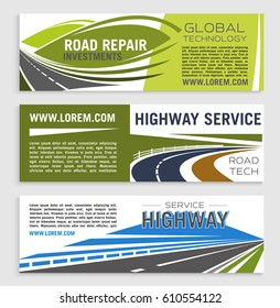 Road repair and highway service banner template. Asphalt highway road and speedy freeway symbol with text layouts for road construction and repair services, transportation company poster, flyer design