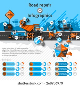 Road repair infographics set with construction machines and charts vector illustration
