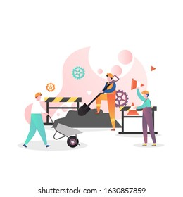 Road repair, maintenance and construction vector illustration. Male characters workers working with shovel, wheelbarrow, holding traffic cones. Asphalt paving process concept for banner, website page.