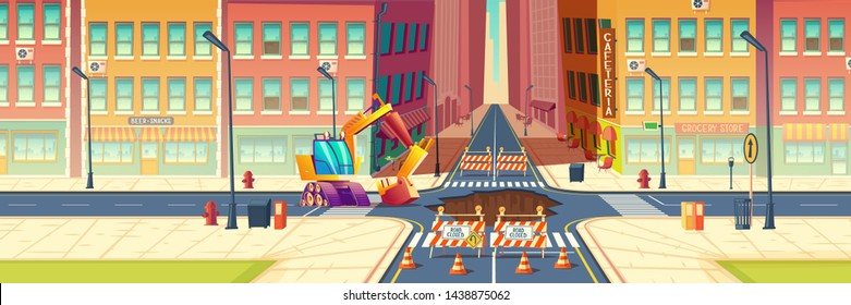 Road repair, maintenance works, underground pipeline replacement on city street cartoon vector concept. Construction machine, excavator, surrounded warning signs, digging pit in asphalt illustration