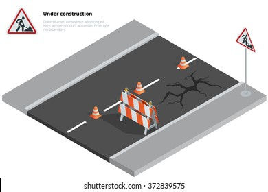 Road repair, under construction road sign, maintenance and construction of pavement. Flat 3d vector isometric illustration