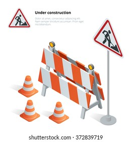 Road repair. Under construction sign.  Maintenance and construction of pavement. Flat 3d vector isometric illustration