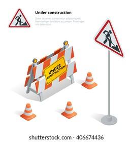 Road repair, under construction road sign. Flat 3d vector isometric illustration.