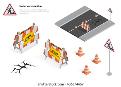Road repair, under construction road sign. Flat 3d vector isometric illustration