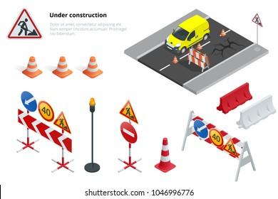 Road repair, under construction road signs. Flat 3d vector isometric illustration.