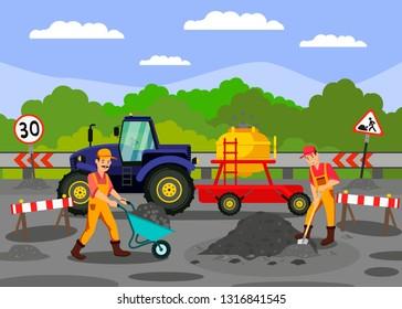 Road Repair Works on Highway, Street Vector Illustration. Labours, Workers in Uniform Working. Asphalt Restoration Service Flat Drawing. Road Signs, Tractor Design Elements. Roadworks Banner Design