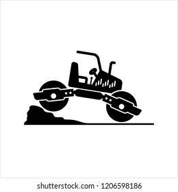 Road Roller Icon, Construction Vehicle Icon Vector Art Illustration