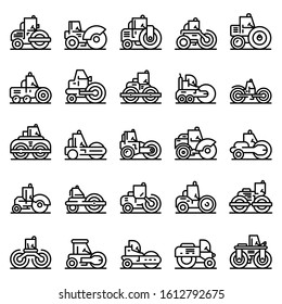 Road roller icons set. Outline set of road roller vector icons for web design isolated on white background