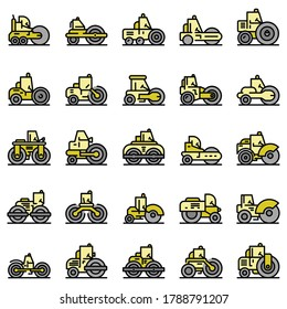 Road roller icons set. Outline set of road roller vector icons thin line color flat on white