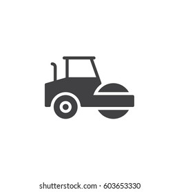 Road roller, steamroller icon vector, filled flat sign, solid pictogram isolated on white. Symbol, logo illustration. Pixel perfect