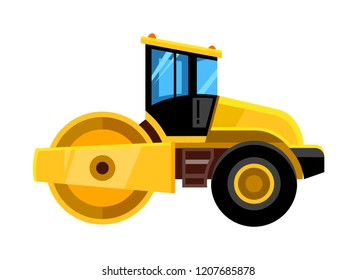 Road roller. Yellow construction asphalt roller truck transportation for builders vector yellow vehicle