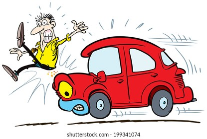 Road Safety, Man About to be Hit by a Car, vector illustration