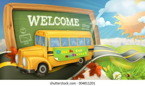 Road to school vector background