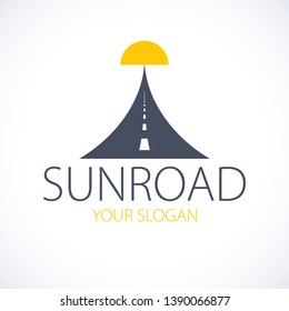 The road to the setting sun, highway vector perfect design illustration or logo. Camping, travel and tourism theme, car or bus trip ride. Can be used as a road banner or billboard.
