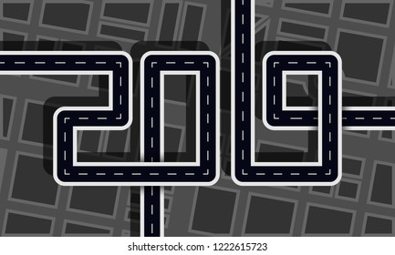 Road in the shape of figures vector icon. 2019 year with city silhouette top view concept.