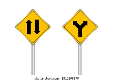 road sign of arrow pointing two way traffic ahead and crossroad, traffic road sign yellow color isolated on white, warning caution sign and steel pole for direction signpost the way