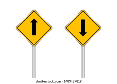 road sign of black arrow pointing up and down, traffic road sign yellow isolated on white, yellow traffic sign ahead and down, warning caution sign and steel pole for direction signpost the way
