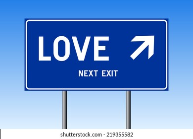 Road sign concept - LOVE with up right arrow on blue background against blue sky