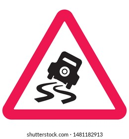 road sign, danger of skidding, vector icon