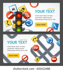 Road Sign Drive School Flyer Banner Posters Card Horizontal Set Education Driving Rules. Vector illustration