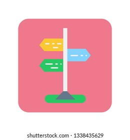 Road sign flat color icon. Right or wrong decision concept. Make choice. Symbol for web page, mobile app, banner, social media. Pictogram UI/UX user interface. Vector clipart.