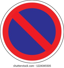 Road sign in France: forbidden parking and stop