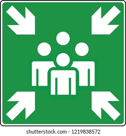 road sign in France: Meeting point exit and evacuation signs