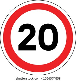 Road sign in France: speed limit at 20 km / h (twenty kilometers per hour)