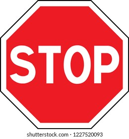 Road sign in France:  STOP. Traffic stop sign on pure white. Red octagonal stop sign for prohibited activities. illustration - you can simply change color and size