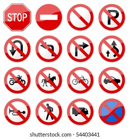 Road Sign Glossy Vector (Set 6 of 8)